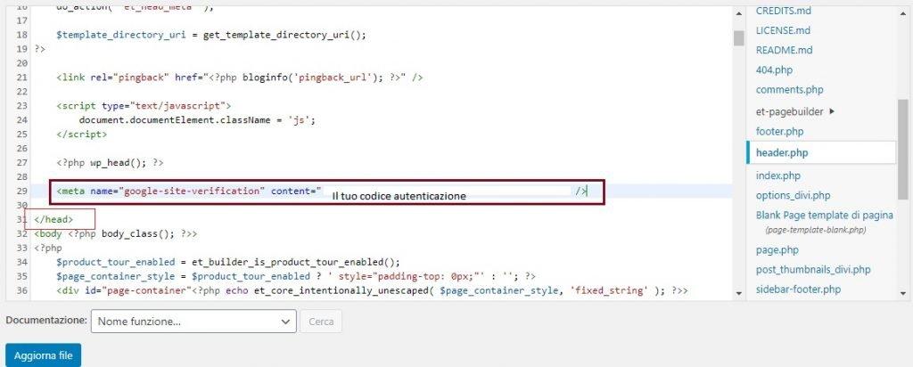 inserire codice autenticazione 1