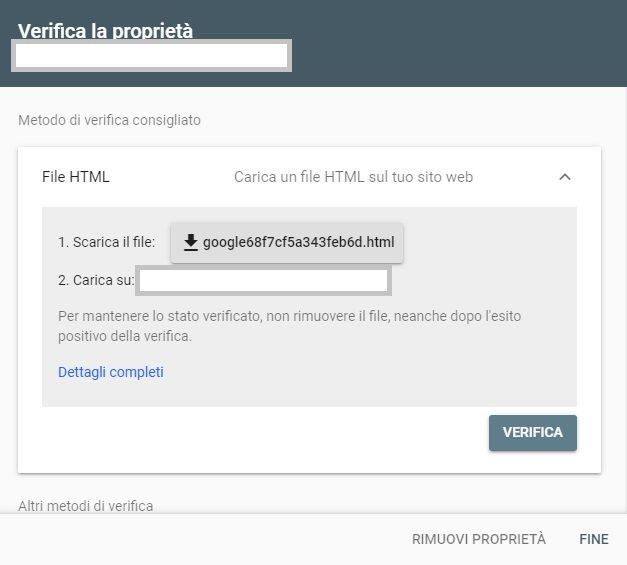 verificare proprieta google search console