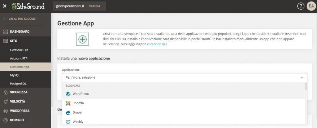 installare wordpress su siteground