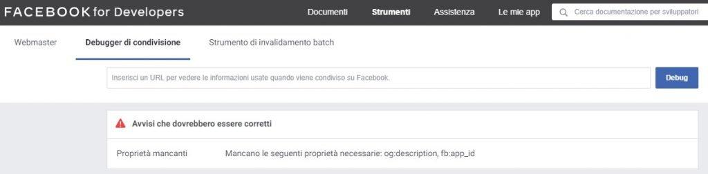 strumento debugger condivisione facebook