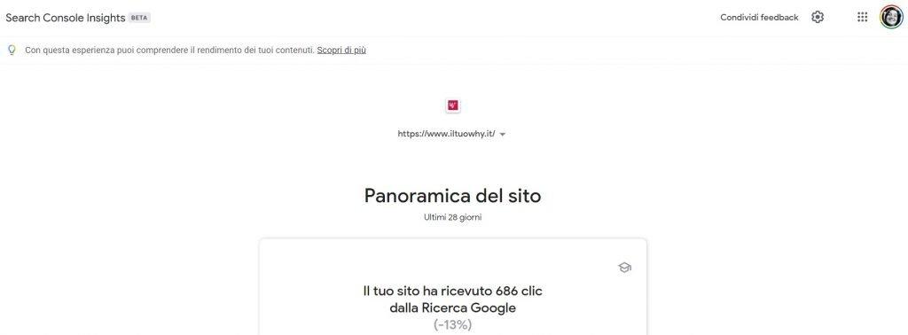 google search console insights panoramica sito web